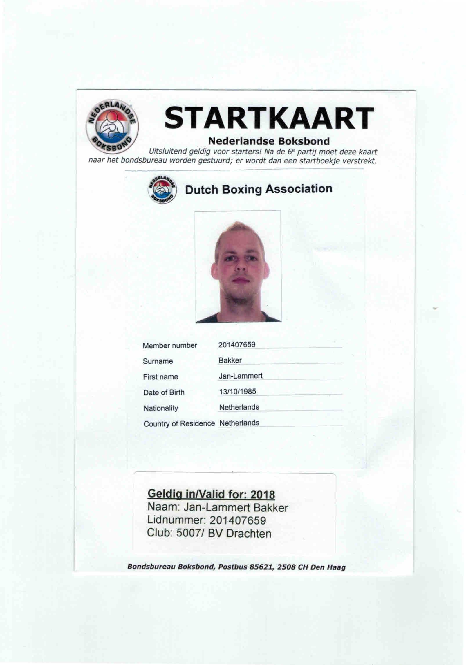 Startkaart Jan Lammert Bakker