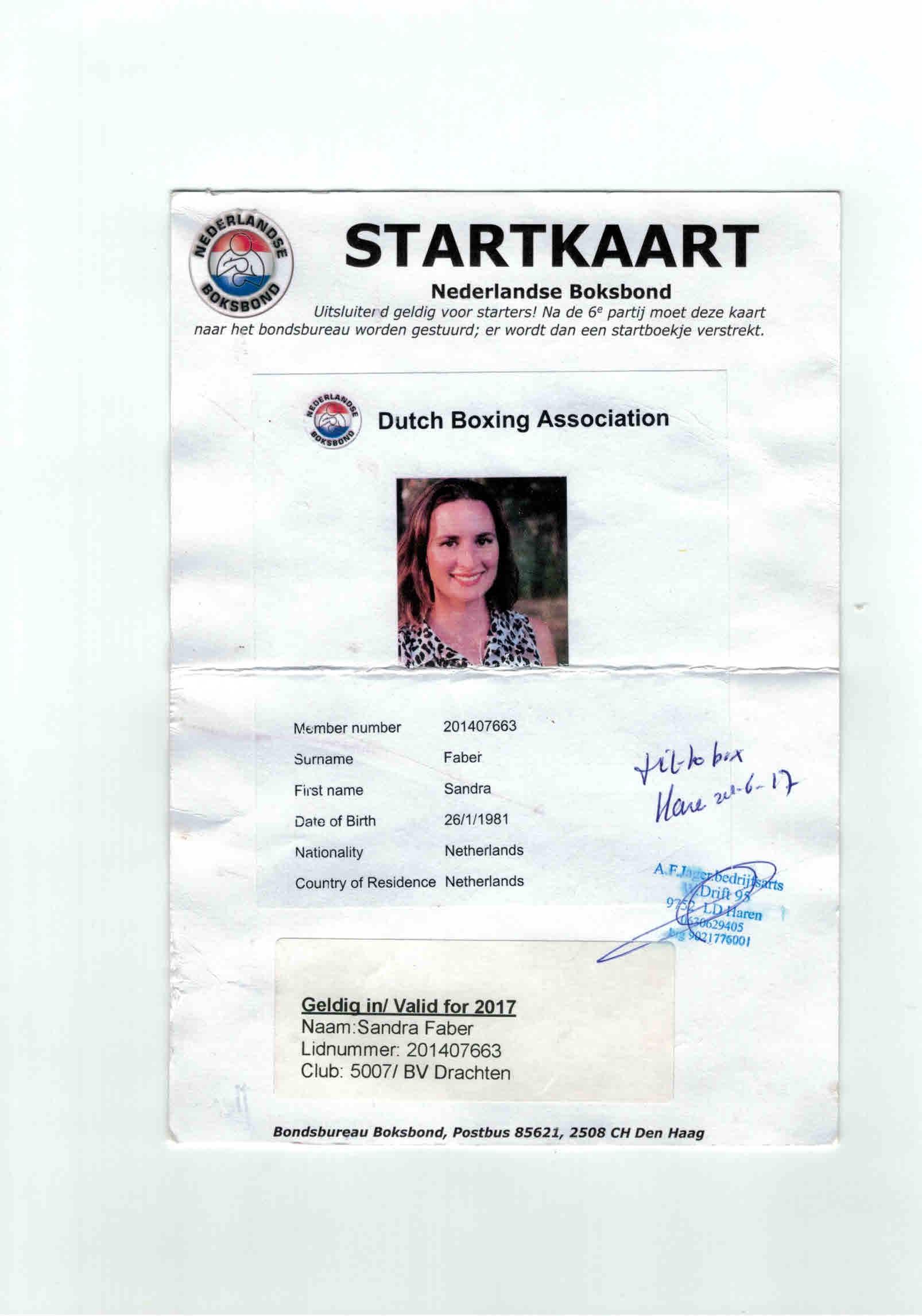 Startkaart Sandra Faber